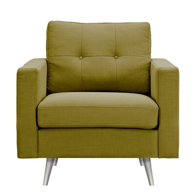 Shanna Armchair Upholstery: Avocado Green, Finish: Silver