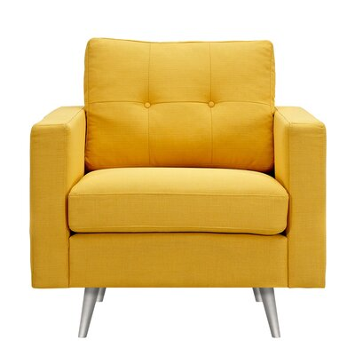 Shanna Armchair Upholstery: Papaya Yellow, Finish: Silver