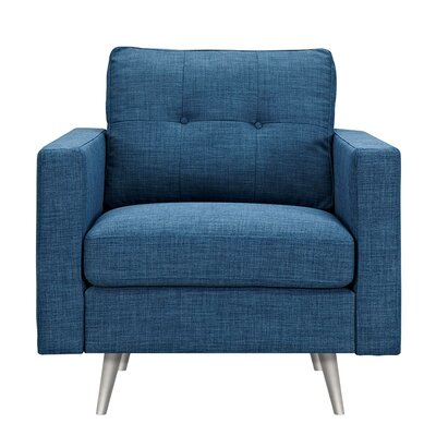 Shanna Armchair Upholstery: Stone Blue, Finish: Silver