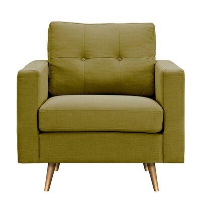 Shanna Armchair Upholstery: Avocado Green, Finish: Brass