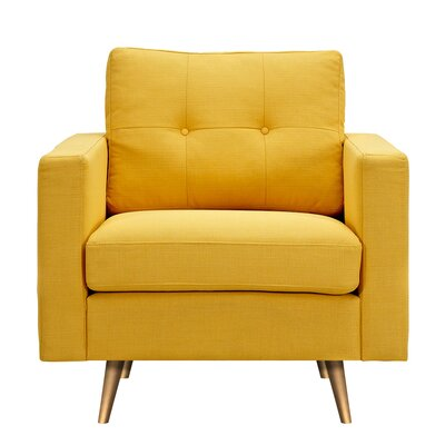 Shanna Armchair Upholstery: Papaya Yellow, Finish: Brass
