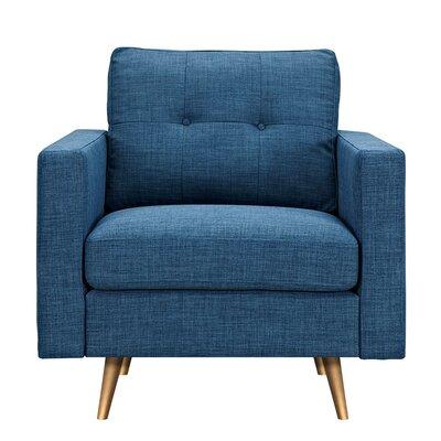 Shanna Armchair Upholstery: Stone Blue, Finish: Brass