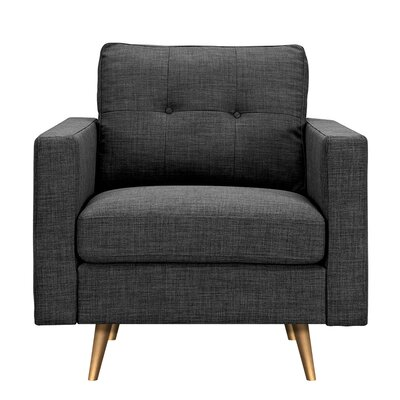 Shanna Armchair Upholstery: Charcoal Gray, Finish: Brass