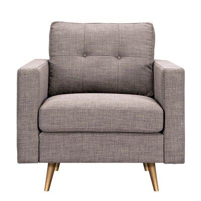 Shanna Armchair Upholstery: Aluminium Gray, Finish: Brass