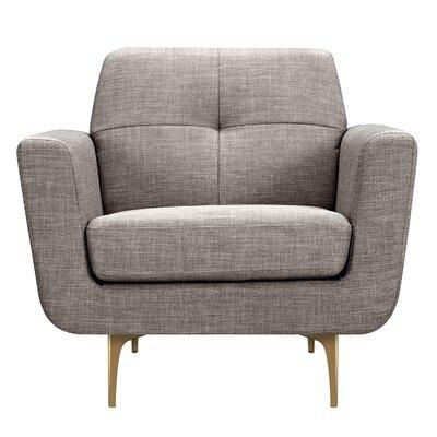 Trisha Armchair Upholstery: Aluminium Gray, Finish: Brass