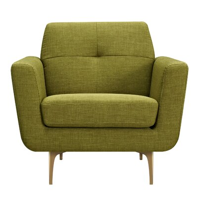 Trisha Armchair Upholstery: Avocado Green, Finish: Brass