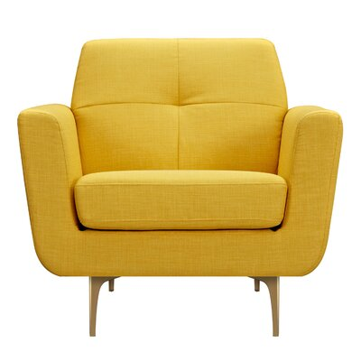 Trisha Armchair Upholstery: Papaya Yellow, Finish: Brass