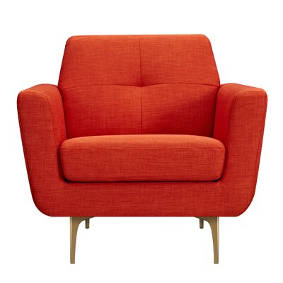 Trisha Armchair Upholstery: Retro Orange, Finish: Brass