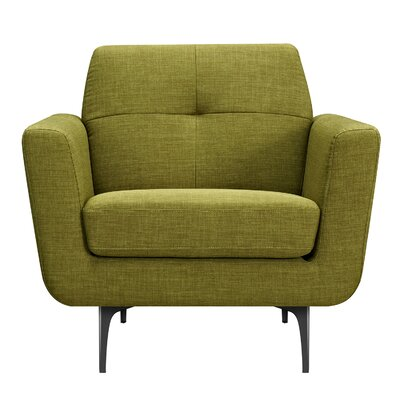 Trisha Armchair Upholstery: Avocado Green, Finish: Black