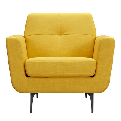 Trisha Armchair Upholstery: Papaya Yellow, Finish: Black