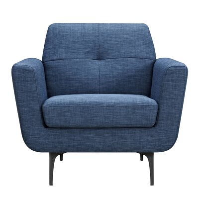 Trisha Armchair Upholstery: Stone Blue, Finish: Black