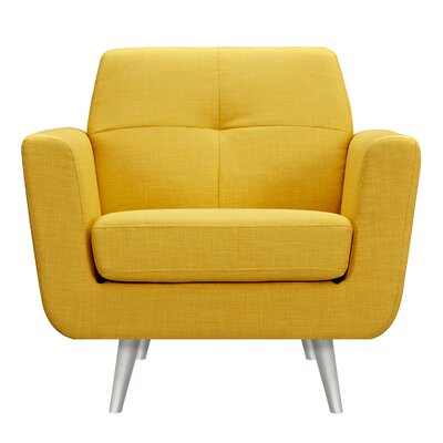 Toni Armchair Upholstery: Papaya Yellow, Finish: Silver