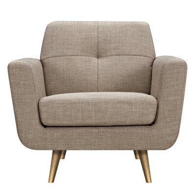 Toni Armchair Upholstery: Light Sand, Finish: Brass