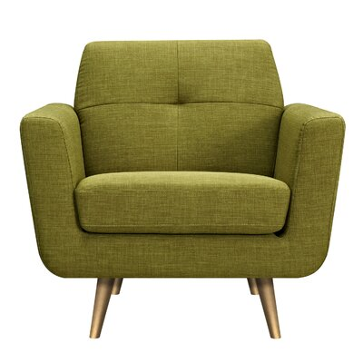 Toni Armchair Upholstery: Avocado Green, Finish: Brass