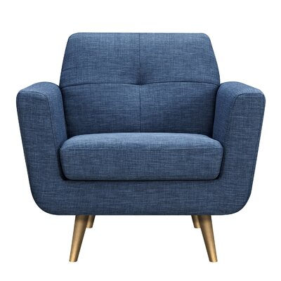 Toni Armchair Upholstery: Stone Blue, Finish: Brass