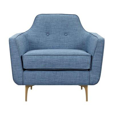 Joy Armchair Upholstery: Stone Blue, Finish: Brass