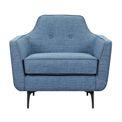 Joy Armchair Upholstery: Stone Blue, Finish: Black