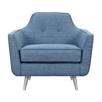 Hillary Armchair Upholstery: Stone Blue, Finish: Silver