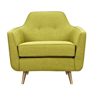 Hillary Armchair Upholstery: Avocado Green, Finish: Brass
