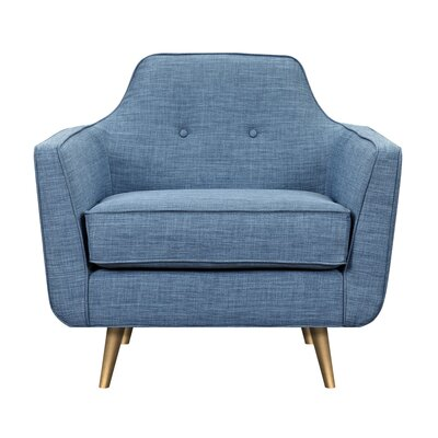 Hillary Armchair Upholstery: Stone Blue, Finish: Brass