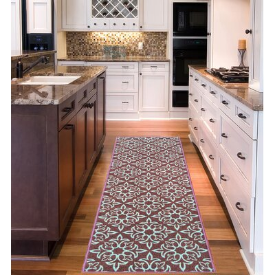 Sweet Home Damask Brown Area Rug Rug Size: 18 x 411