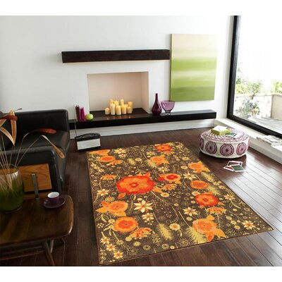 Sweet Home Floral Brown Area Rug Rug Size: 33 x 411