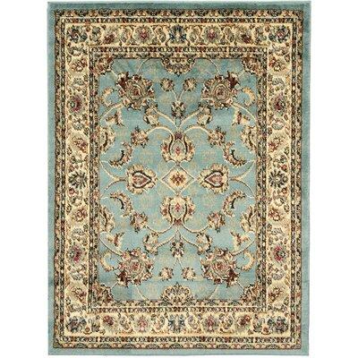King Mahal Blue Teal Area Rug Rug Size: 5'3 x 7'