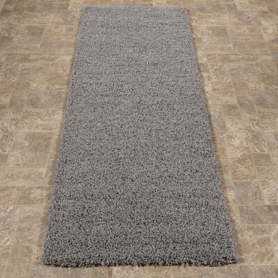 Cevallos Ultimate Solid Design Contemporary Shag Gray Area Rug