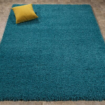 Cozy Shag Machine Woven Mat Color: Turquoise Blue