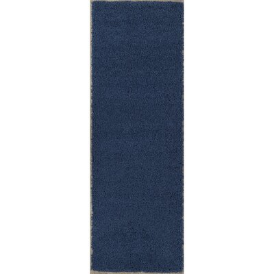 Cozy Shag Navy Blue Area Rug Rug Size: Runner 27 x 8