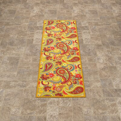 Sweet Home Paisley Yellow Area Rug Rug Size: Runner 18 x 411