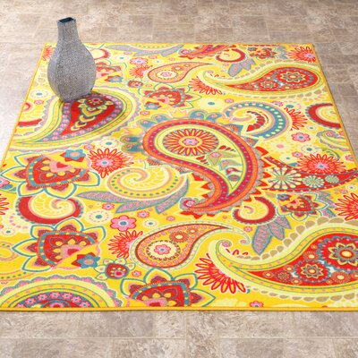 Sweet Home Paisley Yellow Area Rug Rug Size: Rectangle 33 x 411