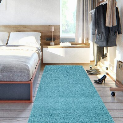 Cozy Turquoise Blue Area Rug Rug Size: 27 x 8