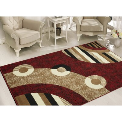 Clifton Red Area Rug Rug Size: 5 x 7