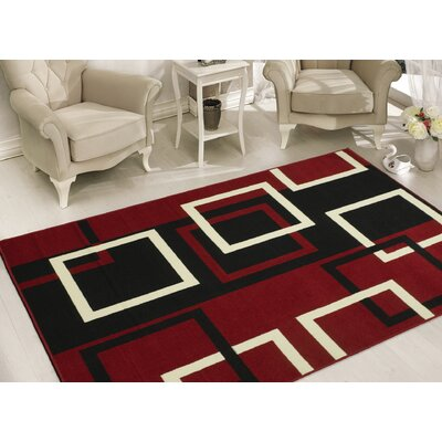 Clifton Dark Red Area Rug Rug Size: 5 x 7