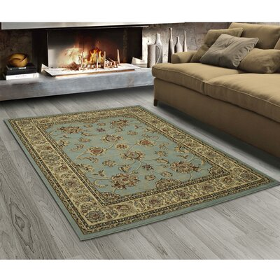 King Mahal Blue Teal Area Rug Rug Size: Rectangle 53 x 7