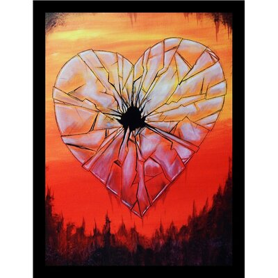 'Glass Heart' Framed Acrylic Painting Print on Paper Size: 16