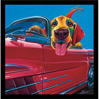 'Dog About Town, Dogs Car Driving Cute Funny Animals' Framed Graphic Art Print Poster