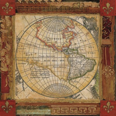 'Corners of Earth Map II' Graphic Art Print on Gallery Wrapped Canvas