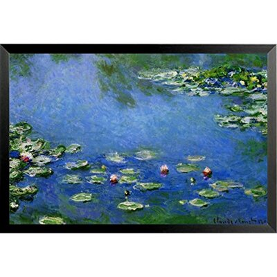 'Water Lilies in Blue' by Claude Monet Framed Graphic Art Print