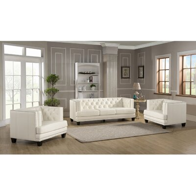 Amax Newport-SCC Newport 3 Piece Leather Living Room Set