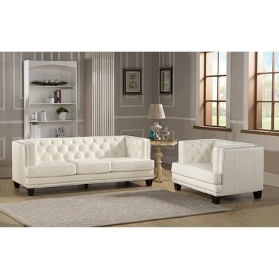Newport 2 Piece Leather Living Room Set