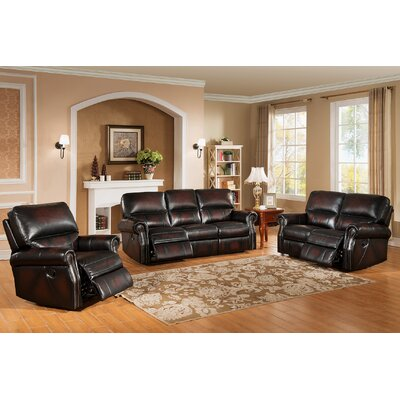 Nevada 3 Piece Leather Living Room Set