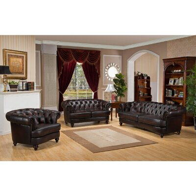 Roosevelt 3 Piece Leather Living Room Set