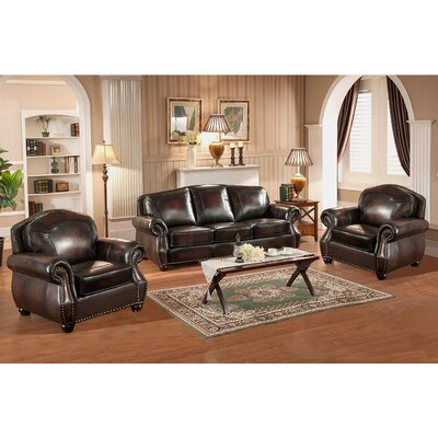 Vail 3 Piece Leather Living Room Set