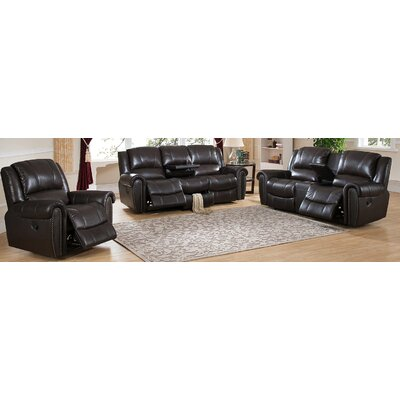 Charlotte 3 Piece Leather Living Room Set