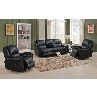 Houston 3 Piece Leather Living Room Set