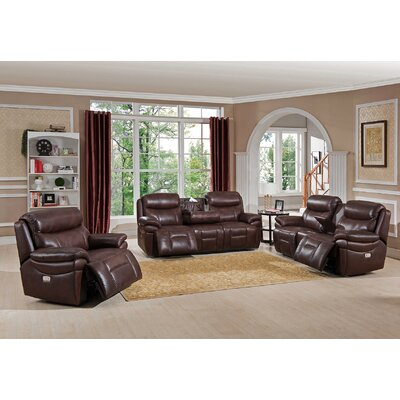Sanford 3 Piece Leather Power Reclining Living Room Set with USB Ports, Power Headrests, and Drop Down Table