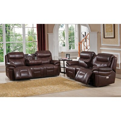 Sanford 2 Piece Leather Power Reclining Living Room Set with Power Headrests and Drop Down Table