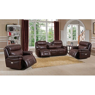 Sanford 3 Piece Leather Living Room Set